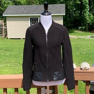 WHBM Quilted Black Moto Sweater Jacket XS NWT